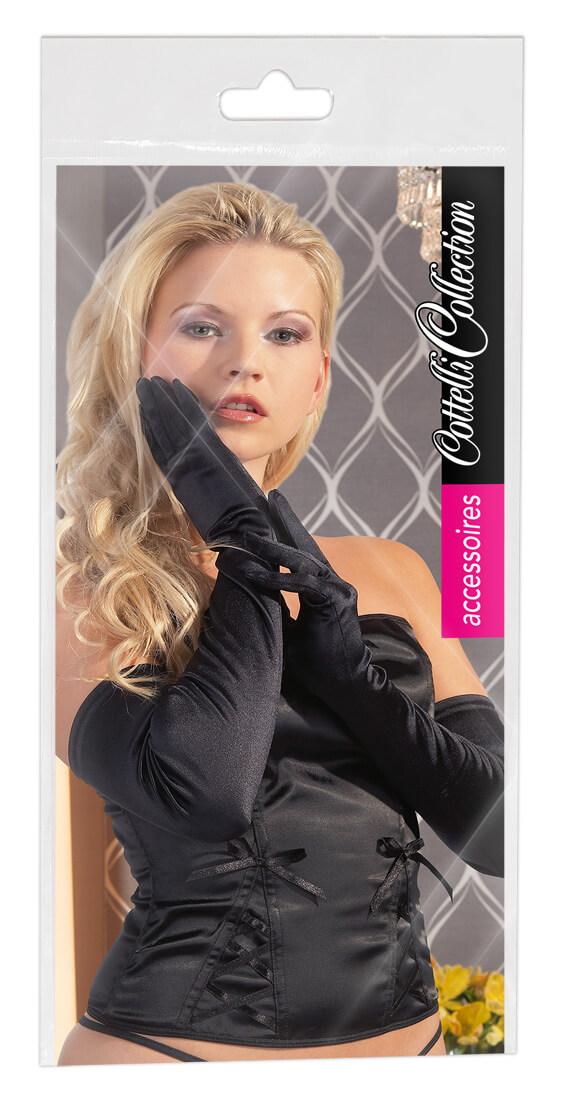 Cottelli saténové rukavice - čierne
