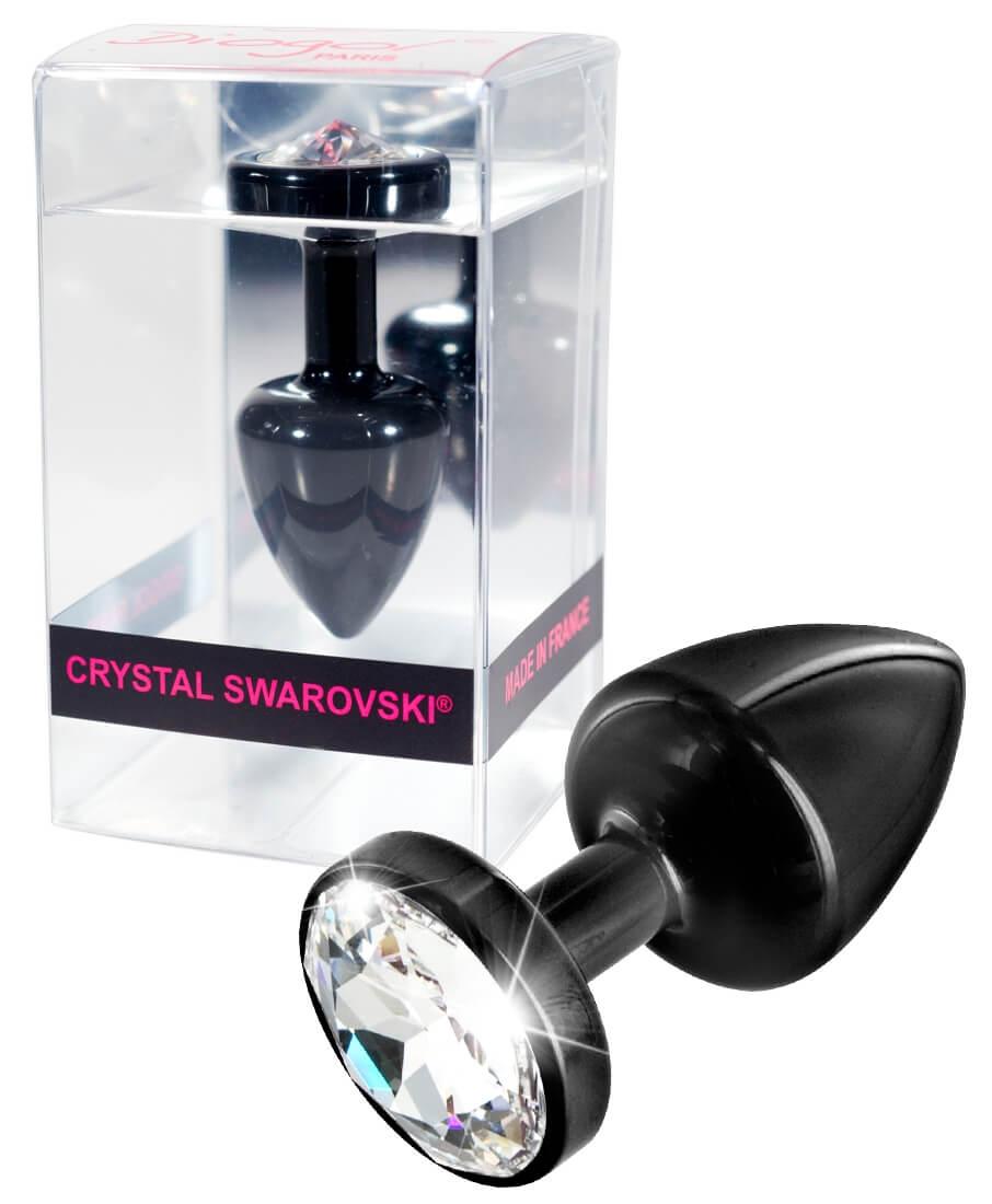 DIOGOL Anni Butt Plug Round Black - análny kolík s priehľadným kryštálom (čierny 3cm)