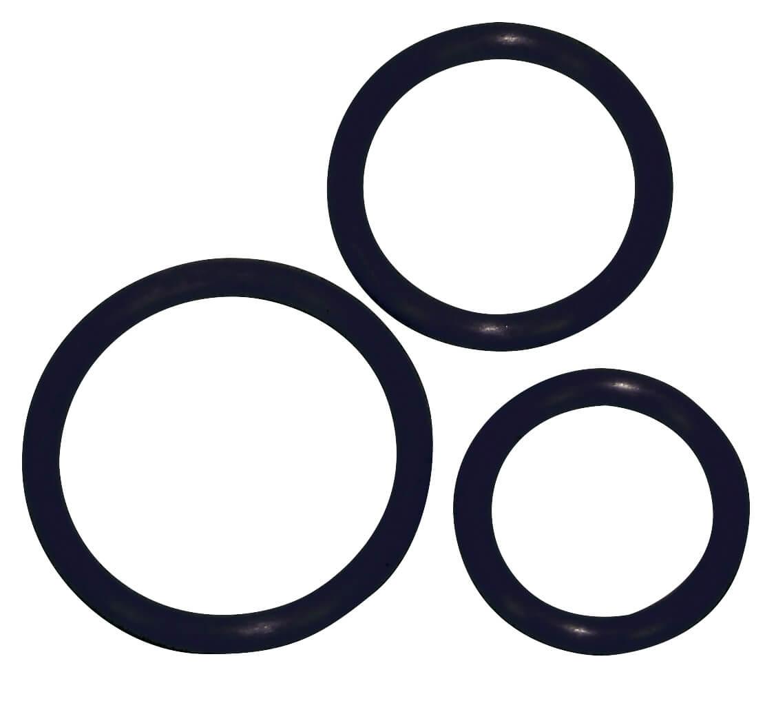 Péniszgyűrűk / Szilikon gyűrű trió - fekete