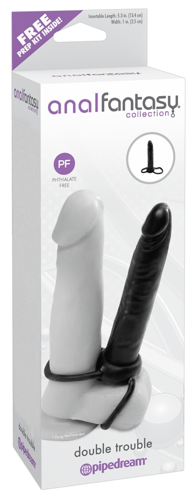 ANALFANTASY DOUBLE TROUBLE - ATTACHABLE ANAL DILDO (BLACK)