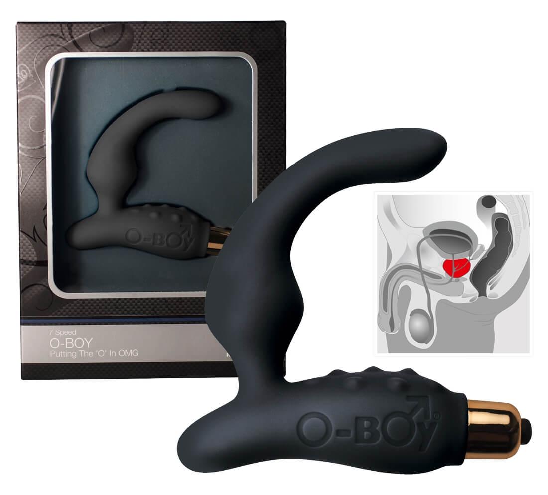 Rock Off O Boy 7 - vibrátor na prostatu (čierny)