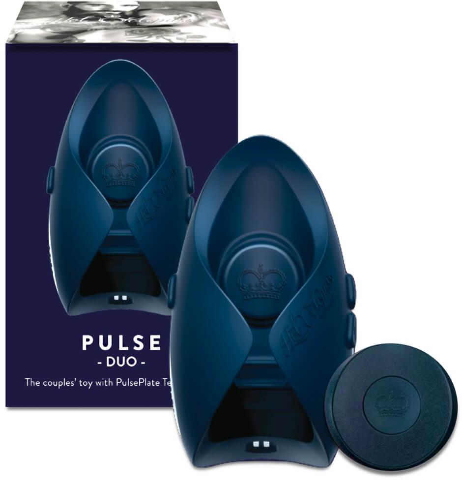 Pleasure Pulse III Duo – vibrátor na penis (sivo-modrý)