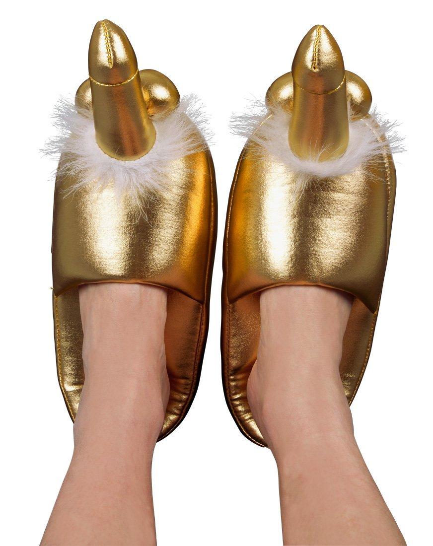 Erotikus ajándékötletek / Arany színű papucs - péniszes