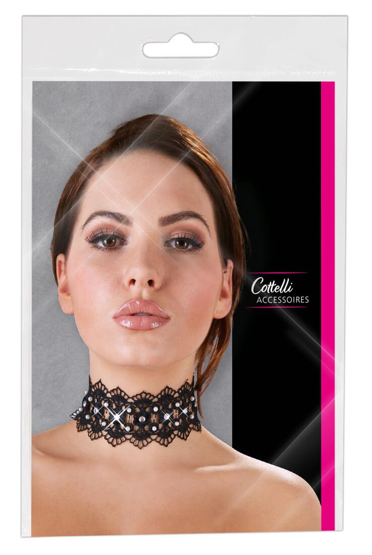 Cottelli Jewels - čipkovaný golier s perlami a štrasovými ozdobami